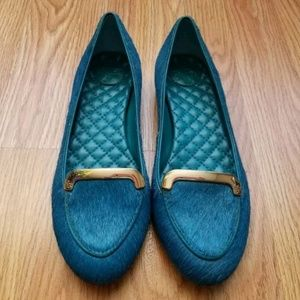 Tory Burch Jess Electric Blue Calf Hair Flats